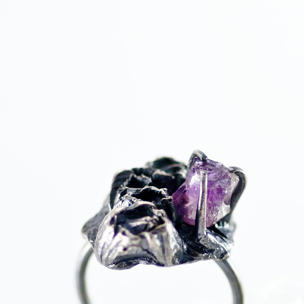 Handcrafted Ocean Inspired, Sea Goddess Amethyst Silver Ring