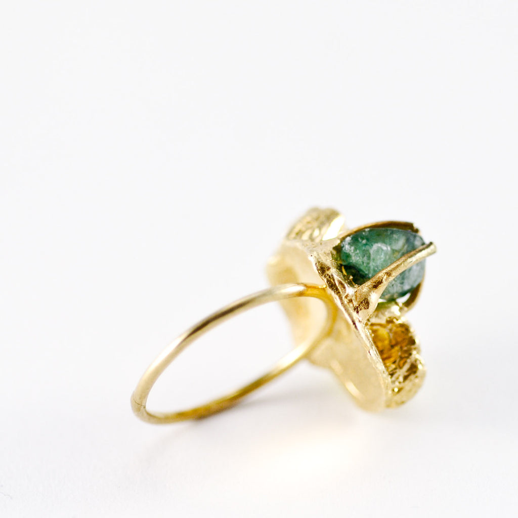 Sea Goddess Gemstone Tourmaline Gold Ring
