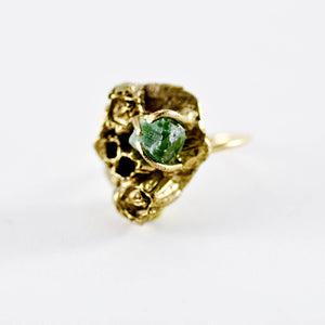 SEA GODDESS GREEN TOURMALINE GOLD RING