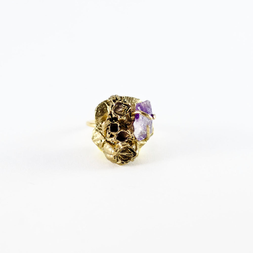 SEA GODDESS AMETHYST GOLD RING
