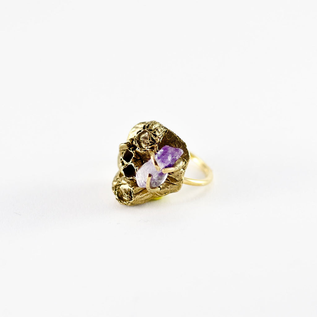 Handcrafted Ocean Inspired, Sea Goddess Amethyst Gold Ring