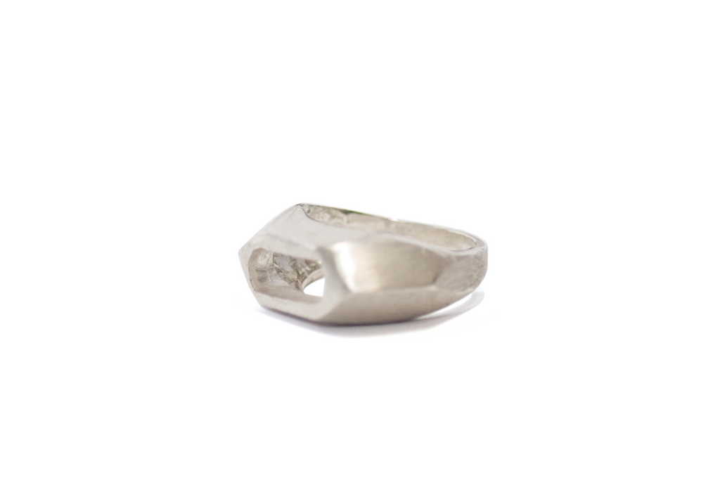 STATEMENT ASYMMETRICAL ATLAS SILVER RING