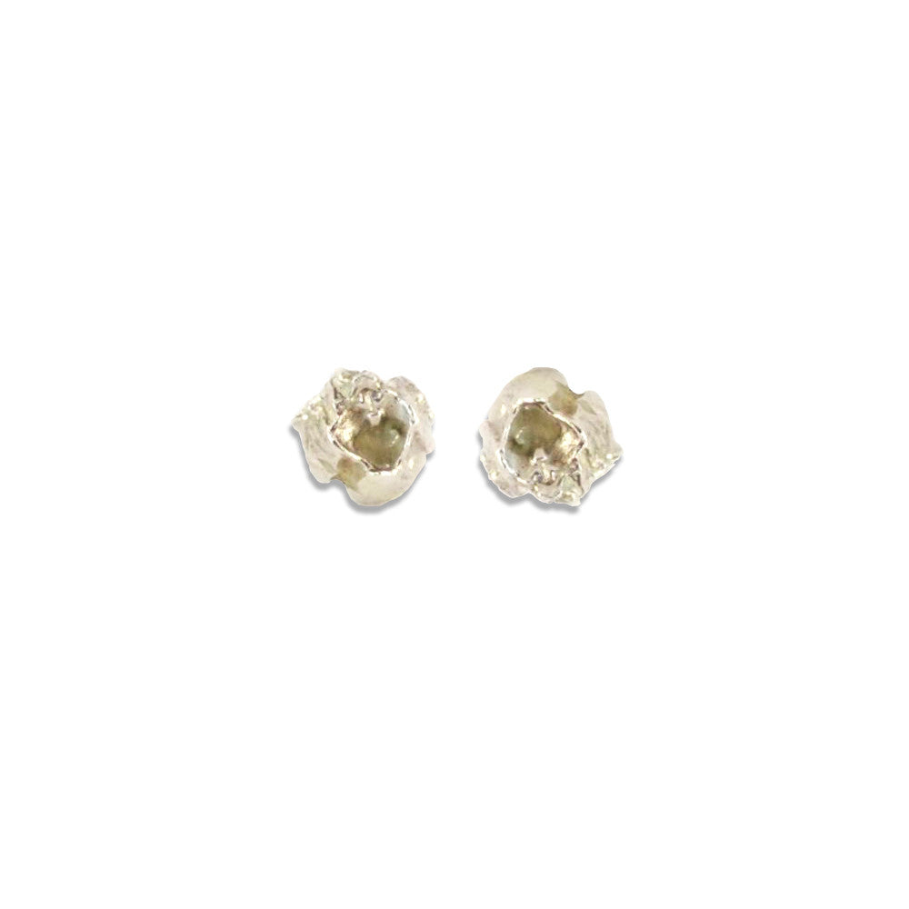 Elegant Barnacle Silver Stud Earrings