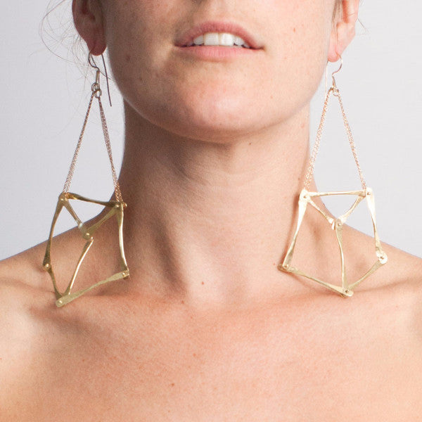 Seagrass Inspired Gladiator Pentagon Earrings