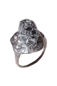 OXIDIZED SILVER RING WITH 3-2MM DIAMONDS