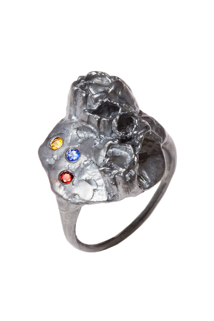 OXIDIZED SILVER RING WITH 2MM YELLOW SAPPHIRE, BLUE SAPPHIRE, & GARNET