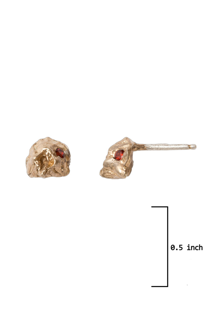 Natural Ocean Inspired Midi Garnet Stud Earrings