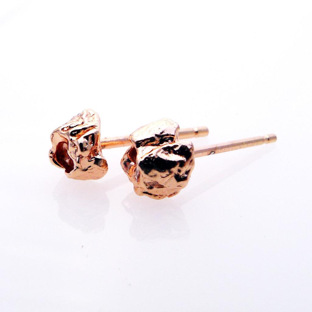 Handmade Rose Gold BEBE Barnacle Stud Earrings