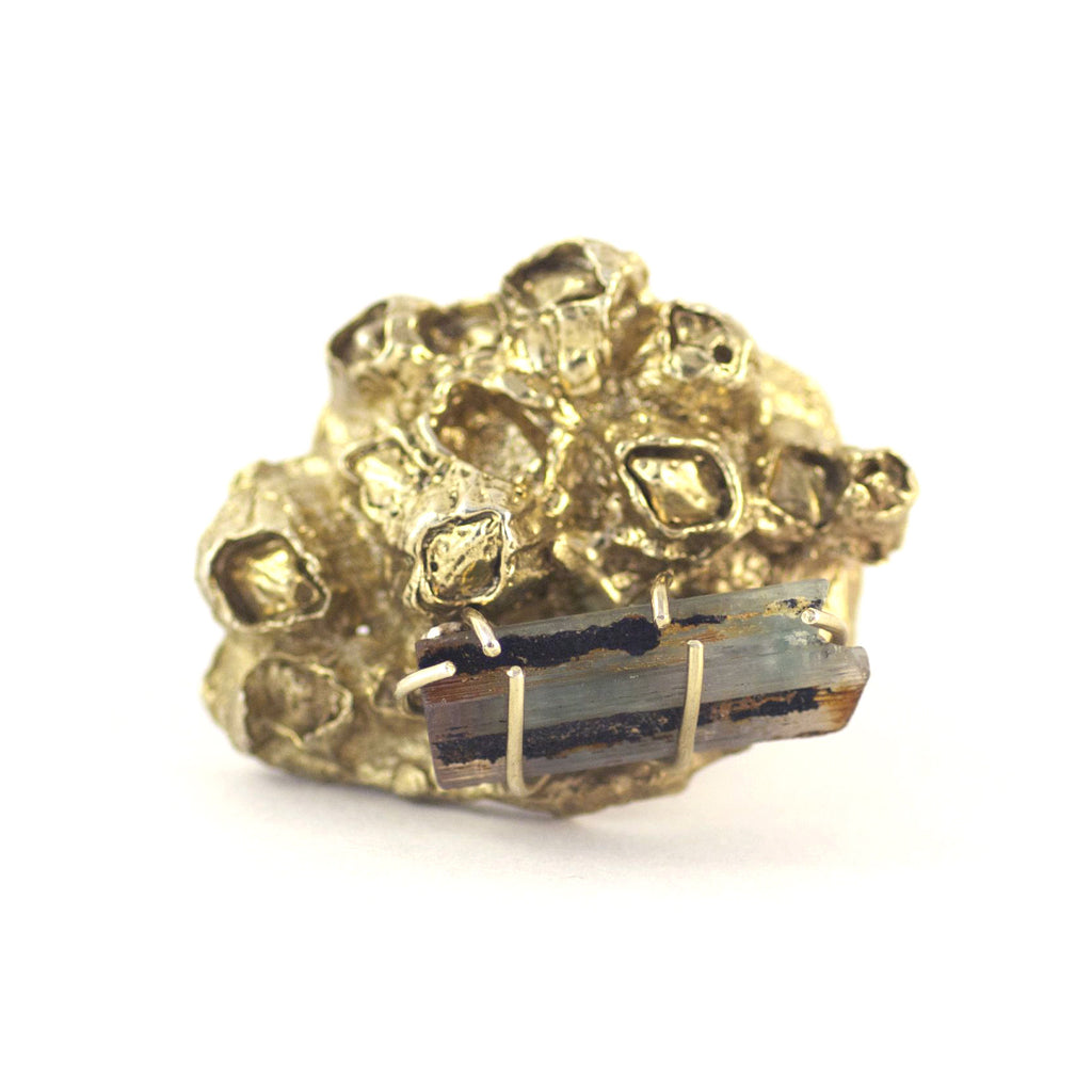 Handcrafted Tourmaline Inspired Gold Ring