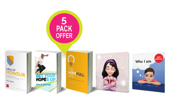 FIVE BOOK PACK: Get Your Hopes Up, Men of Honour, Oxygen:102 Doses of Inspiration, Gifted for Greatness and Who I am.