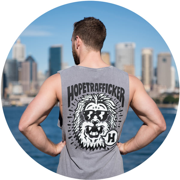 HopeTrafficker - Men's Muscle Shirt - Stone Wash - Handprinted Excellence