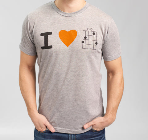 I Heart Gsus, gray shirt, orange heart
