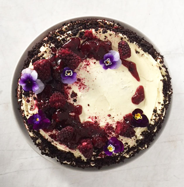 Red velvet, blackberry, vanilla cream cheese