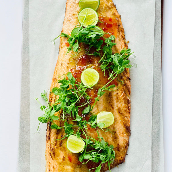 Whole Roasted Salmon Side with Miso, Ginger, Sesame, Sweet Chilli and Fresh Lime