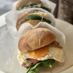 Bacon and egg baps with tomato relish
