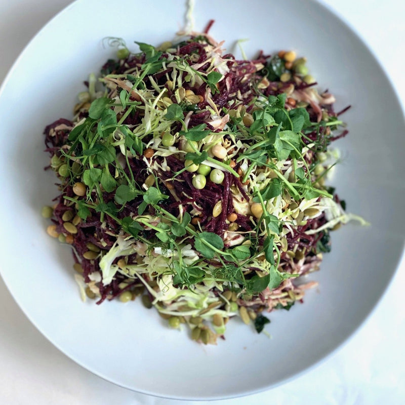 Raw beetroot, calnero slaw, crunchy sprouts, miso dressing, pumpkin seeds GF, VEGAN