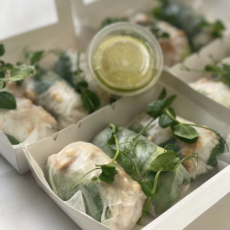 Coconut chicken rice paper rolls (3) with crushed peanuts and avocado & lime dipping sauce GF