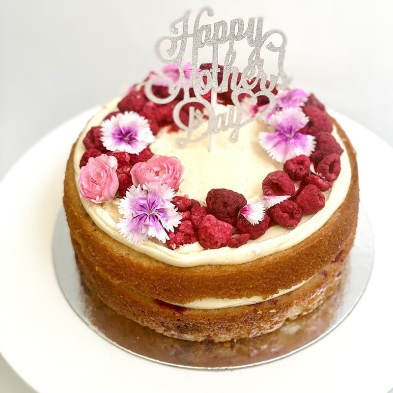 Raspberry, vanilla, passionfruit curd + Mothers Day CAKE TOPPER