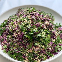 Red rice, red cabbage, silver beet, currants chilli, spring onion, Asian dressing, peanuts GF, VEGAN