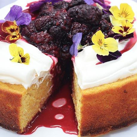 GF Orange almond cake, boysenberry, thick yoghurt