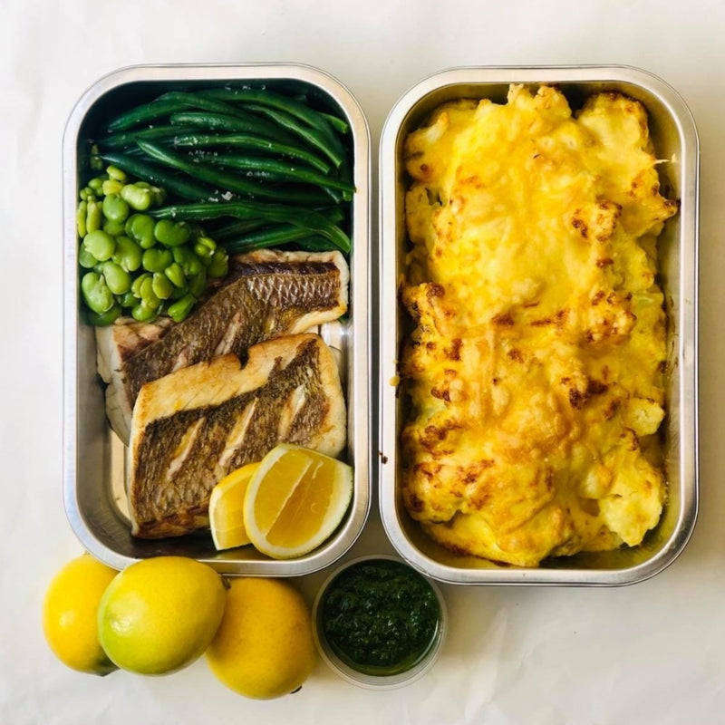 MID WEEK DINNER (FEEDS 2) Fresh snapper, cauliflower gratin, chimichurri, green beans & broad beans