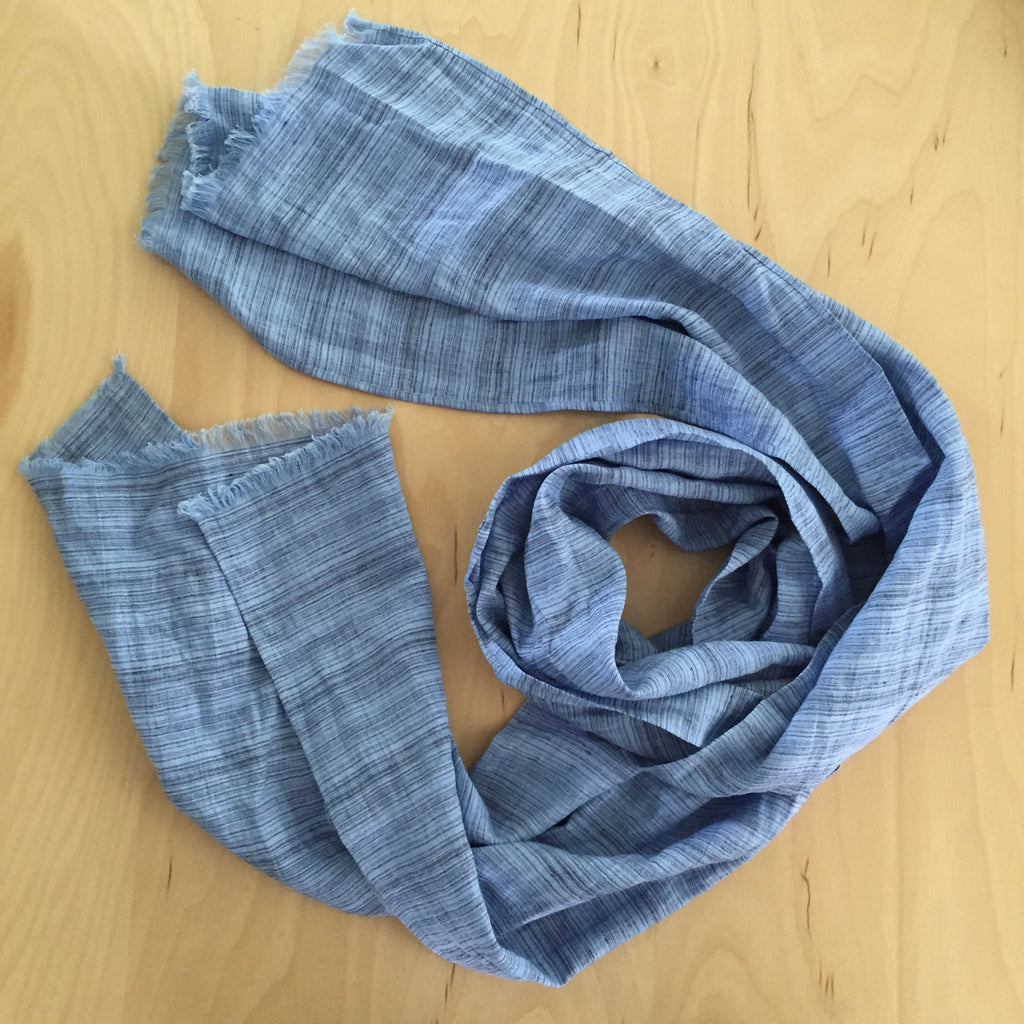 linen scarf, blue on blue