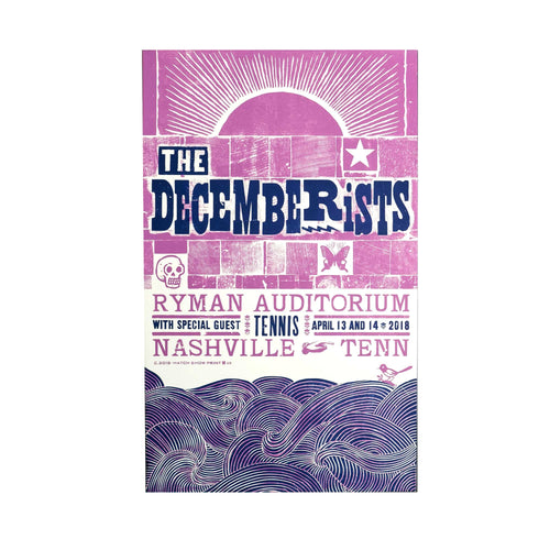 "The Decemberists At Ryman Auditorium In Nashville, TN April 13th & 14th 2018 Poster - 13.25"" x 21.5"""