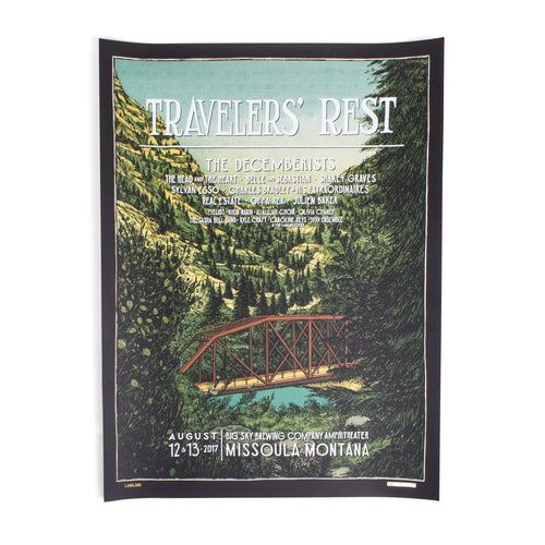 "The Decemberists 'Traveler's Rest' August 12, 13 2017 Poster - 18"" x 24"""