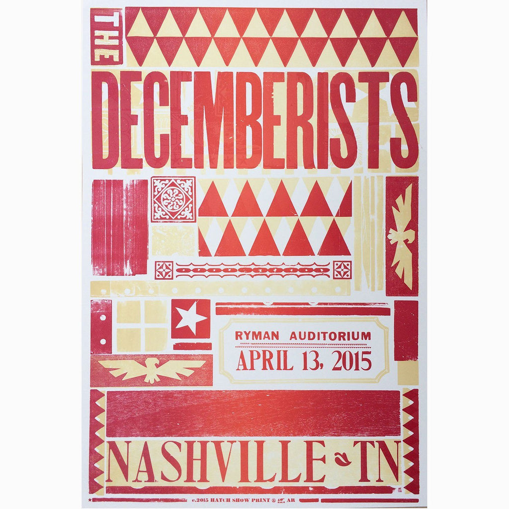 The Decemberists, Ryman Auditorium 2015 Poster