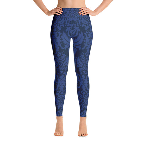 """Indigo Damask"" Yoga Leggings"