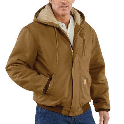 Carhartt 3X Tall Brown 13 Ounce Cotton Duck Flame Resistant Active Jacket With Front Zipper Closure, Quilt Lining, (2) Inside Patch Pockets, Nomex Rib-Knit Cuffs And Waistband