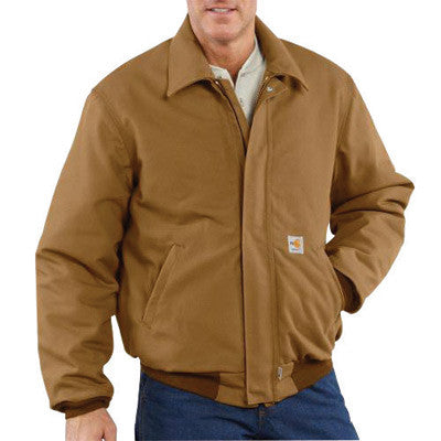 Carhartt 3X Tall Brown 13 Ounce Cotton Duck Flame Resistant Bomber Jacket With Quilt Lining, Front Zipper Closure And 2 Inside Patch Pockets