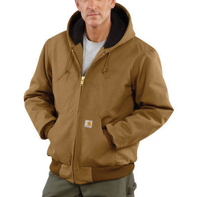 Carhartt Large Tall Brown Flannel Quilt Body Nylon Quilt Sleeves Lined 12 Ounce Heavy Weight Cotton Duck Active Jacket With Front Zipper Closure Triple-Stitched Seams (2) Lower Front Pockets And (2) Inside Pockets