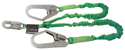 Miller by Honeywell 231M-Z7/6FTGN 6' Manyard II Polyester Web Twin-Leg Shock-Absorbing Lanyard With (1) 3/4