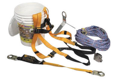 Miller by Honeywell Ready Roofer Basic Roofing Kit (Includes T4000/UAK Full-Body Harness, RA15-1 Reusable Roof Anchor With Attachment D-Ring, 8173U Microloc Trailing Rope Grab, T6111/3FTAF Shock-Absorbing Lanyard, Water-Proof Container And 75' Lifeline)