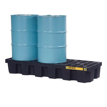 Justrite 75 Gallon Black EcoPolyBlend Polyethylene 3 Drum Pallet (For Spill Control)