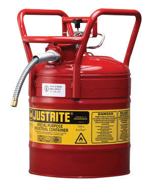 Justrite 5 Gallon Red AccuFlow Galvanized Steel Type II Vented Safety Can With Flame Arrester, 5/8