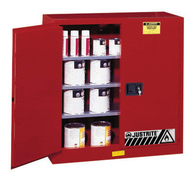Justrite 40 Gallon Red Sure-Grip EX 18 Gauge Cold Rolled Steel Safety Cabinet With (2) Manual Close Doors And (3) Shelves (For Combustibles)