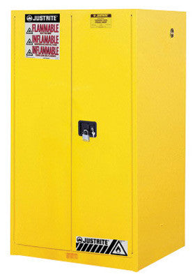 Justrite 60 Gallon Yellow Sure-Grip EX 18 Gauge Cold Rolled Steel Safety Cabinet With (2) Manual Close Doors And (2) Shelves (For Flammables)