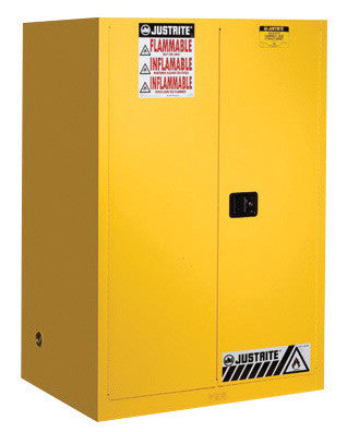 Justrite 90 Gallon Yellow Sure-Grip EX 18 Gauge Cold Rolled Steel Vertical Drum Safety Cabinet With (2) Self-Closing Doors And (2) Shelves (For Flammable Liquids)