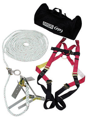 MSA Standard Roofer's Kit (Includes Standard Workman Vest-Style Harness With Qwik-Fit Leg Straps, 50' Rope Lifeline With Trailing Rope Grab, Roof Anchor And Bucket)