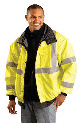 OccuNomix 2X Hi-Viz Yellow OccuLux Premium Four-Way Original Bomber Polyurethane Coated Polyester Class 3 Weatherproof Jacket With Zipper And Snap Closure, 3M Scotchlite 2