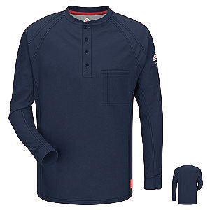 VF Imagewear Bulwark IQ Bulwark 3X Dark Blue 5.3 Ounce 69% Cotton 25% Polyester 6% Polyoxadiazole Men's Long Sleeve Flame Resistant Henley Shirt With Concealed Pencil Stall And Chest Pocket