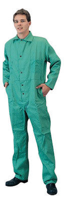 Tillman 2X Green 9 Ounce 100% Cotton Westex Proban FR7A Flame Retardant Coverall With Snap Front Closure And 2 Rear, Front Pockets