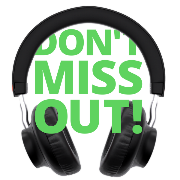 "Banner saying ""Don't miss out"" with headphones"