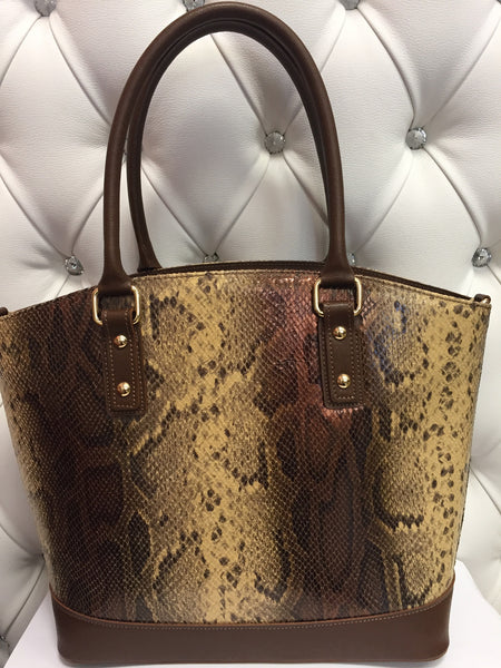 Snake effect leather handbag
