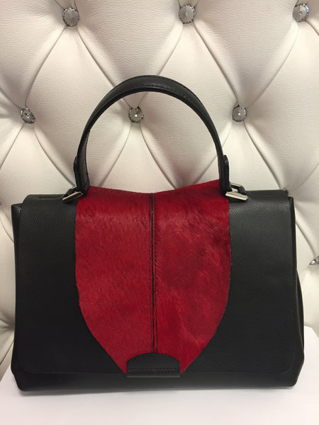 Leather and Horse black and Red Bag