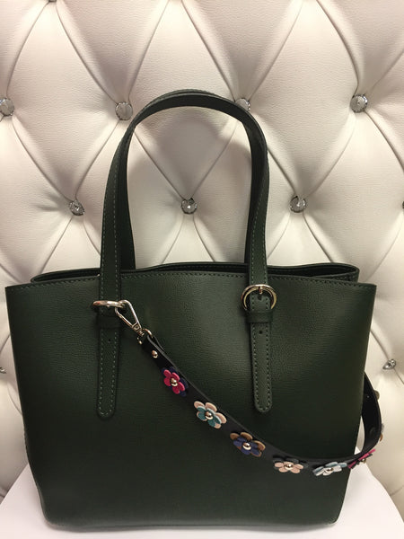 Dark Green Italian leather handbag