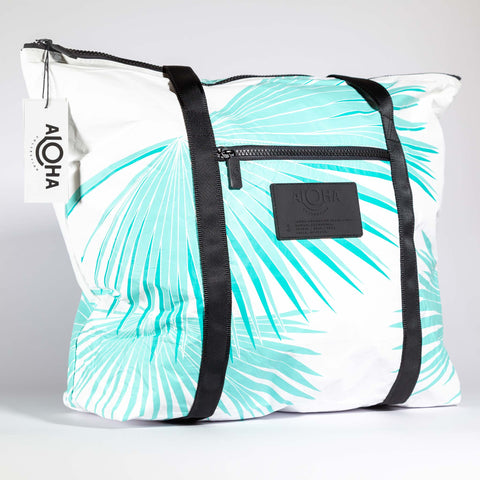 Aloha Collection Tropical Fan Palm Zipper Tote