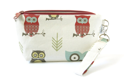 Hooty Red Zipper Wristlet